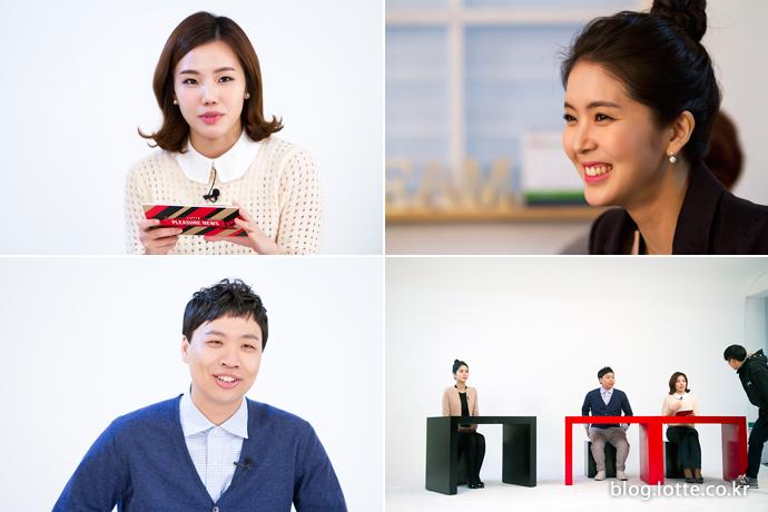 롯데 플레저 뉴스 촬영을 하는 소셜팬 서영롱, 개그맨 이상준, 롯데면세점 최미화 대리