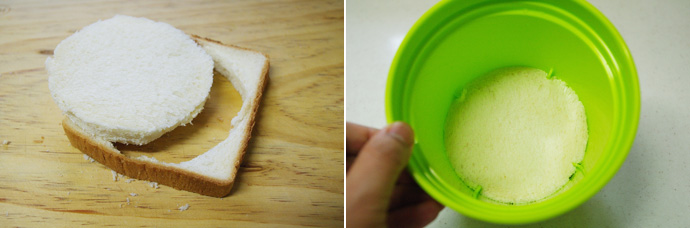 식빵을 화분 밑의 크기에 맞춰 잘라 넣는다