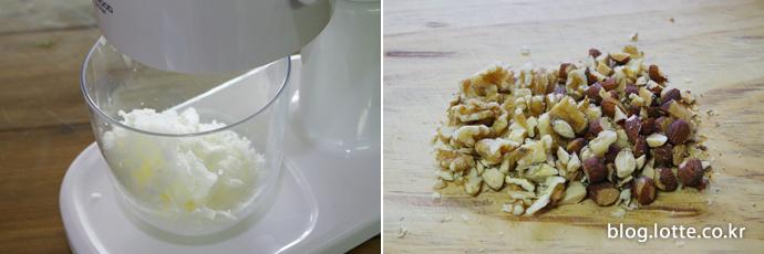 얼린 우유를 빙수기에 넣고 갈아주세요. 빙수에 올릴 아몬드와 호두는 씹는 맛이 나도록 듬성듬성 썰어줍니다.