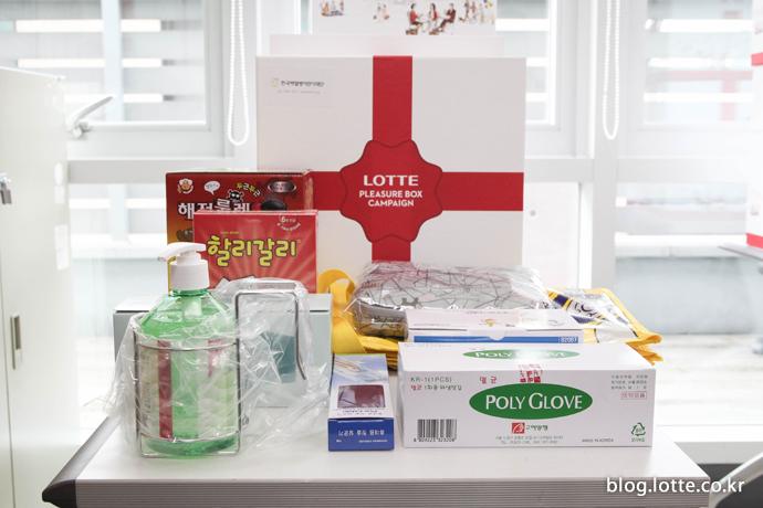 소아암 어린이들에게 전달할 플레저박스 속 물품들
