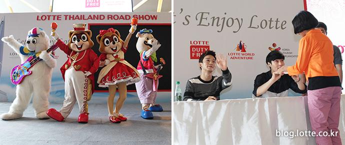 롯데 3사 태국 합동 로드쇼의 모습, 로티 로리의 공연 & 엑소 레이와 첸의 모습