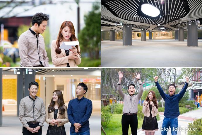 롯데물산의 이슬기 사원과 롯데월드타워의 교통개선대책을 설명하는 이상준, 신승현