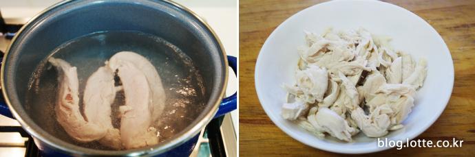 닭가슴살 두유 스파게티 만드는 과정, 닭가슴살 삶아서 찢기