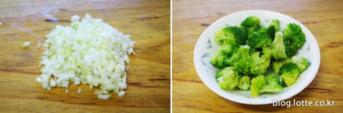 닭가슴살 두유 스파게티 만드는 과정, 양파와 브로콜리 썰기