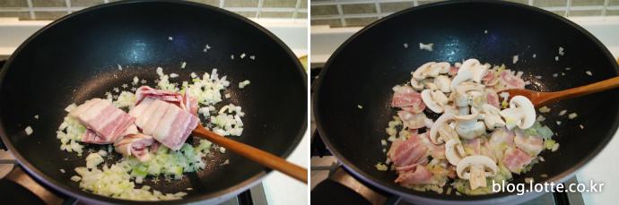 닭가슴살 두유 스파게티 만드는 과정, 베이컨과 양송이 볶기