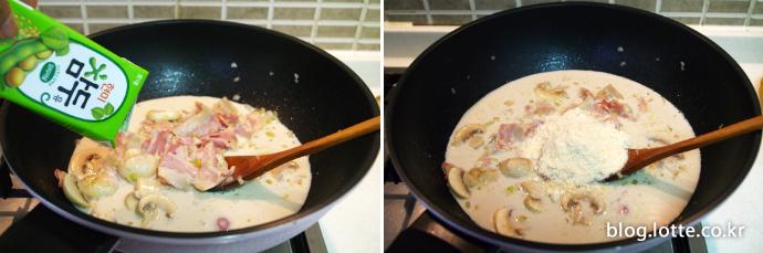 닭가슴살 두유 스파게티 만드는 과정, 두유와 파마산 치즈가루 넣기