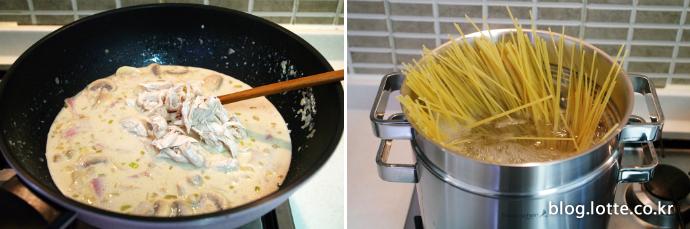 닭가슴살 두유 스파게티 만드는 과정, 닭가슴살 넣고 스파게티면 준비