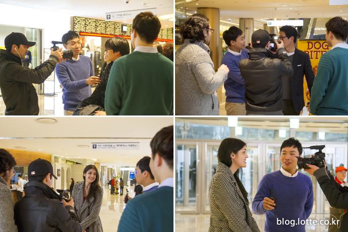 롯데월드몰을 방문한 시민들을 인터뷰 하는 플레저 뉴스 촬영 현장