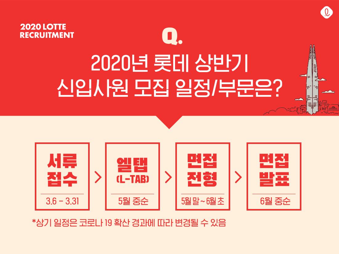 2020 상반기 신입사원 채용 롯데 신입 공채 모집요강 모집일정 엘탭 면접