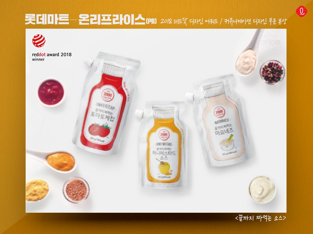 롯데 국제 디자인 온리프라이스 소스 용기 레드닷 어워드