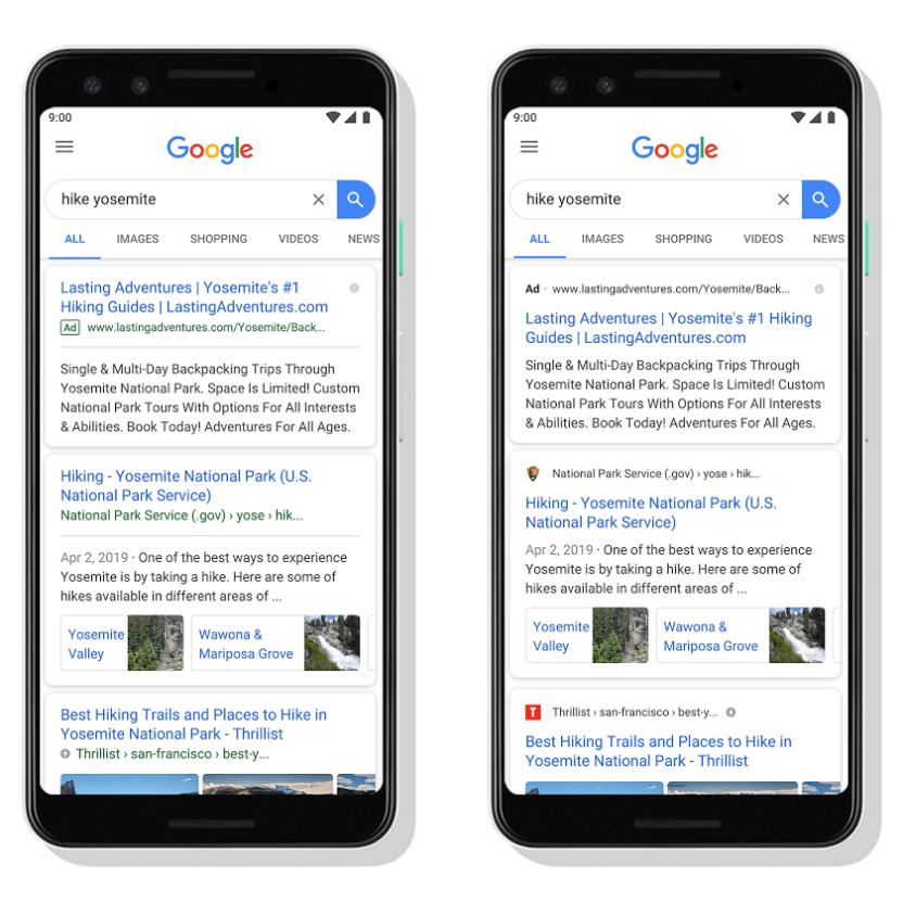 (왼쪽) 디자인 변경 전 / (오른쪽) 디자인 변경 후 – 실제 적용된 화면