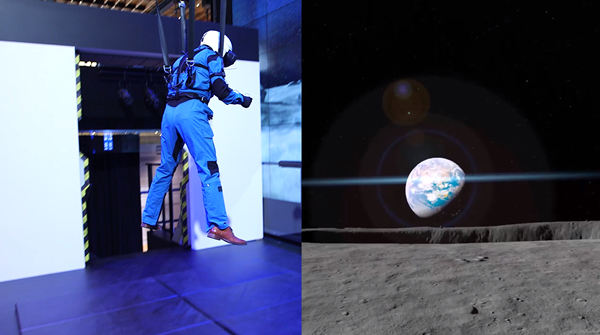 VR 헤드셋을 쓰고 달 탐험 체험 ⓒ https://news.samsung.com/us/