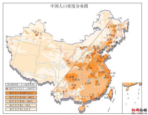 출처 : 바이두 / 중국인구분포도