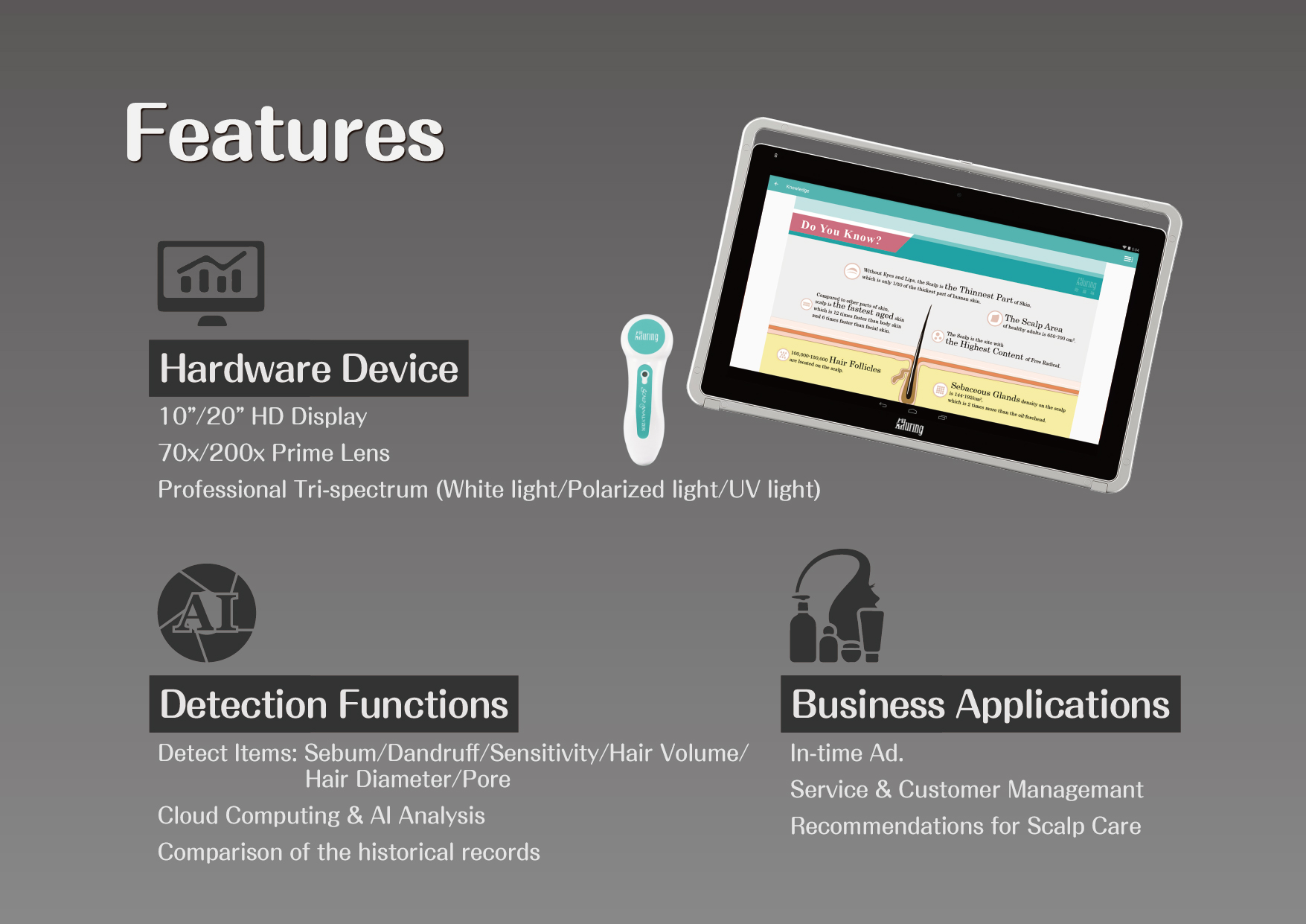 """Features: Hardware Device: 10""""/20"""" HD Display, 70x/200x Prime Lens, Professional Tri-spectrum (White light/Polarized light/UV light) Detection Functions: Detect items includes Sebum, Dandruff, Sensitivity, Hair Volume, Hair Diameter, and Pore.  Cloud Computing & AI Analysis application.  Comparison of the historical records. Business Applications: In-time Ad., Service & Customer Managemant, Recommendations for Scalp Care."""