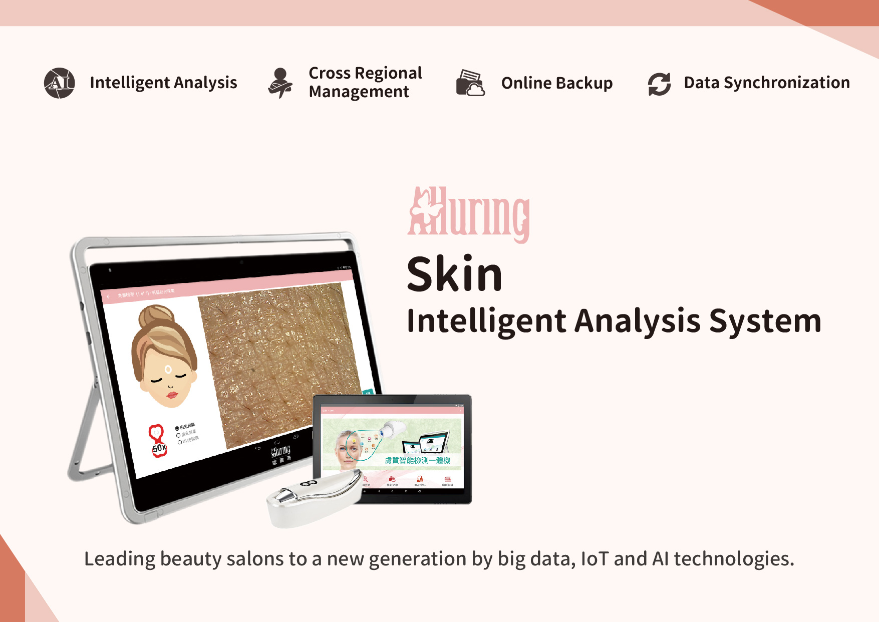 Alluring Skin Intelligent Analysis System: Intelligent Analysis, Cross Regional Management, Online Backup, Data Synchronization.