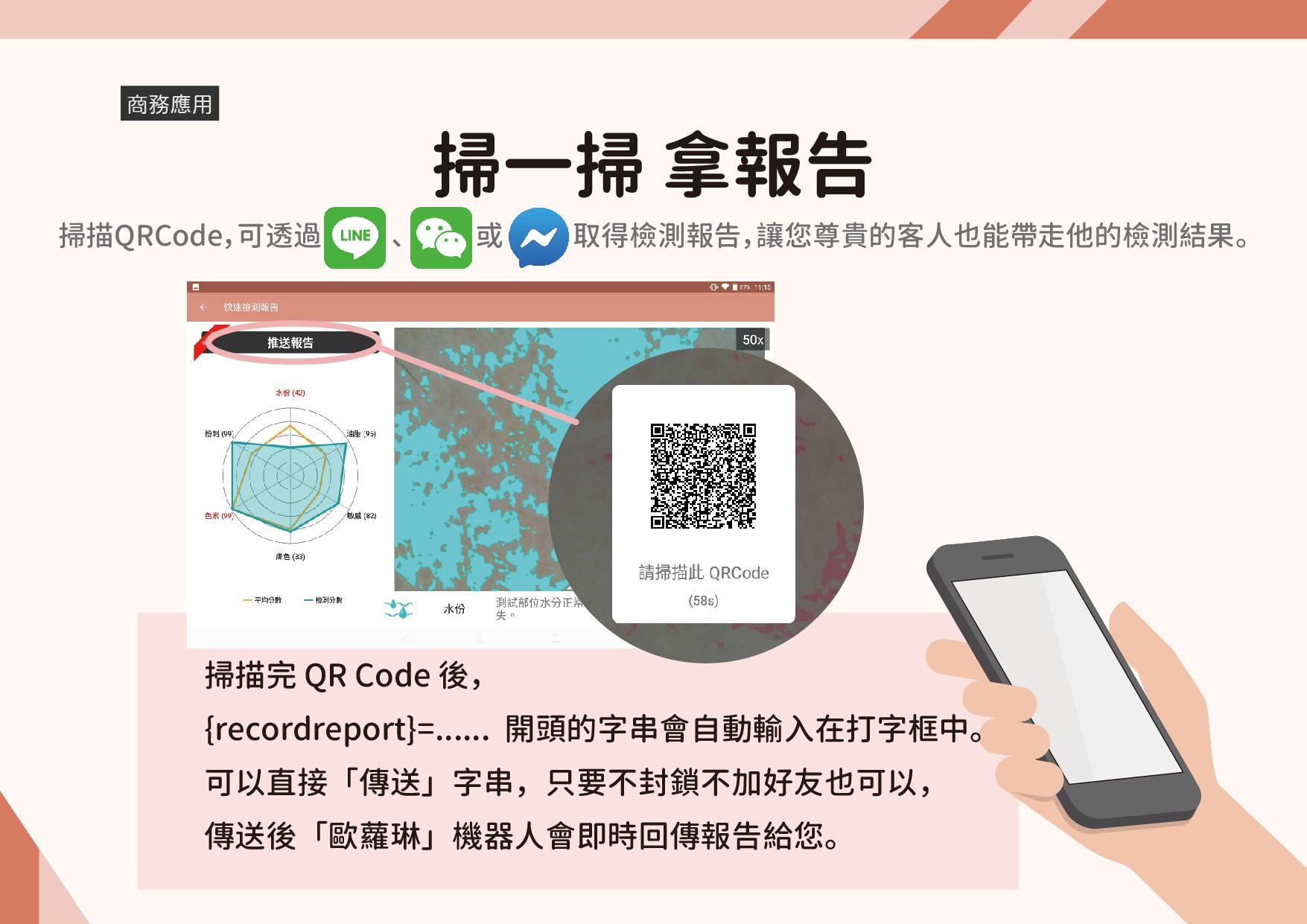 應用場景:在品牌專櫃、醫學美容、連鎖藥妝店或是美容機構中,我們的檢測軟體都是您最佳的助手。