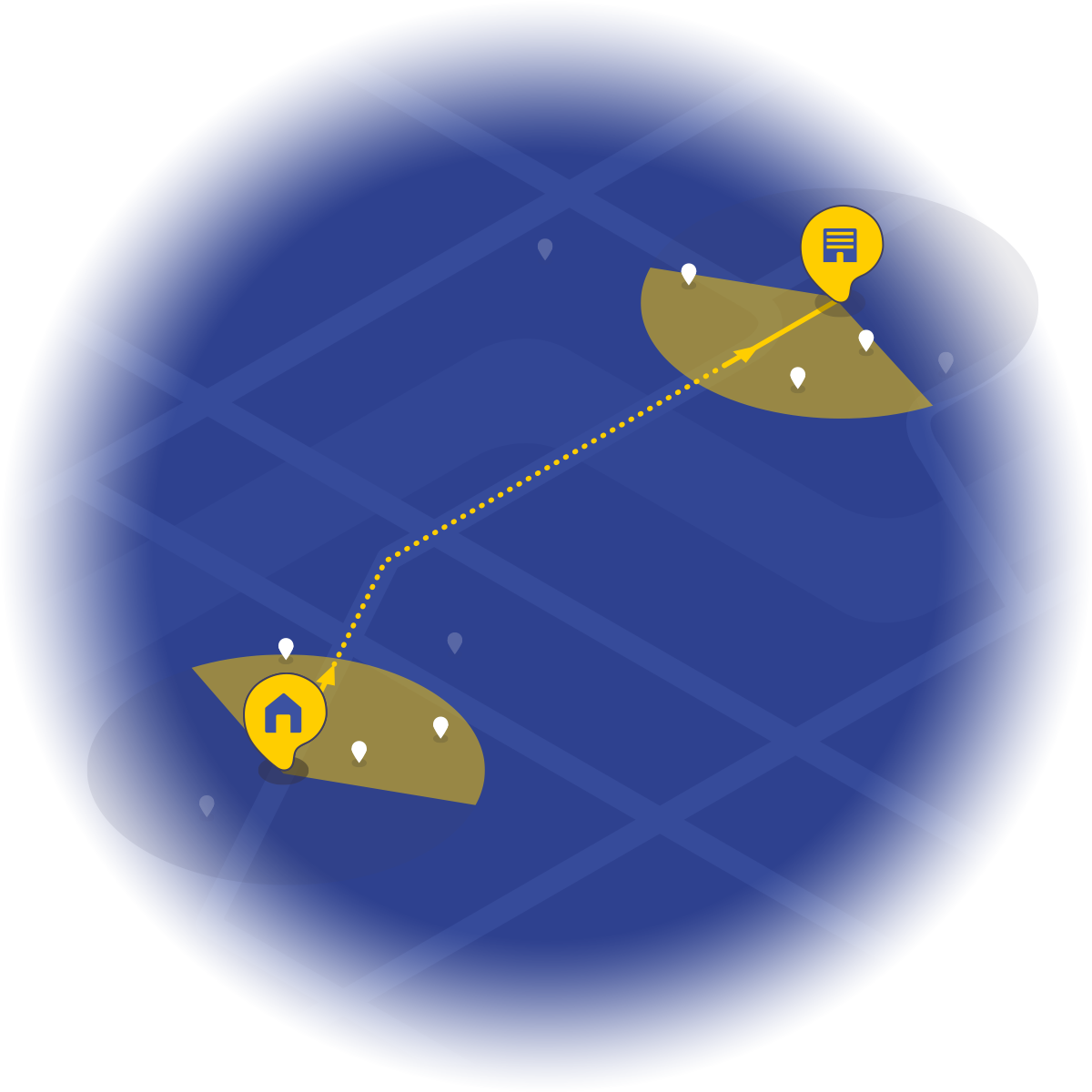 Search algorithm the radius of the center of departure and arrival