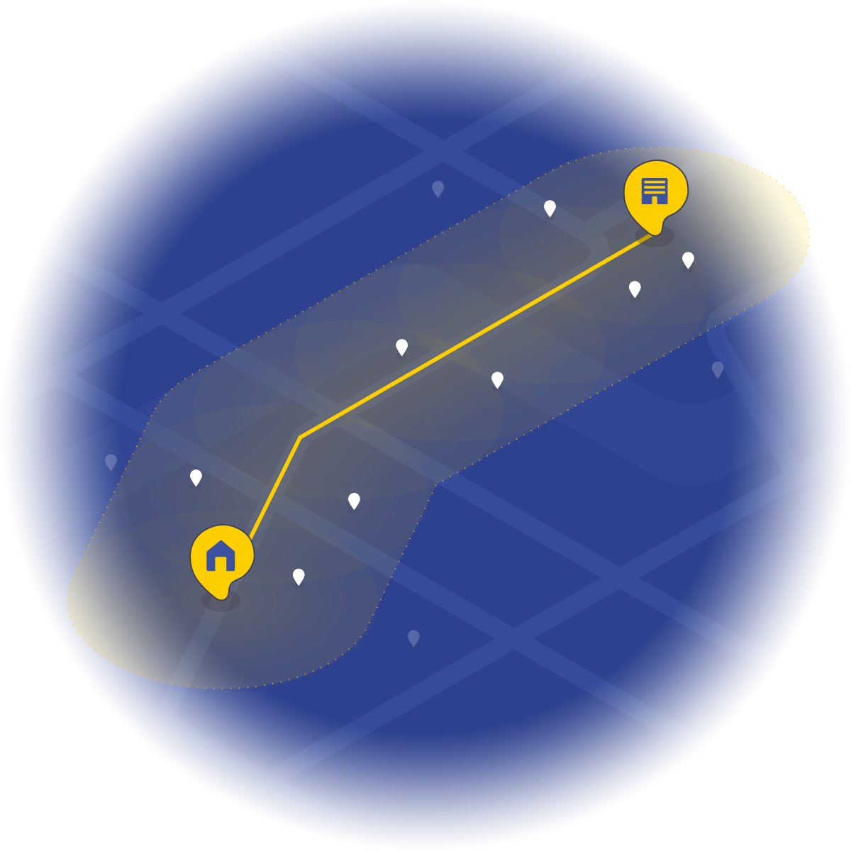 Search algorithm for nearby boarding riders within the driving route